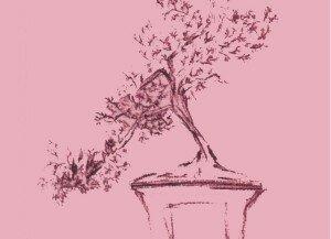 """Dibujo que aparece en la portada de Bonsái y al interior de la misma, en el capítulo """"V. Dos dibujos"""", acompañada por el texto: Es un árbol en precipicio."""